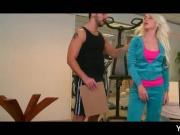 Sexy blonde gets butt licked at the gym