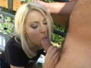 Slim babe rides a cock under the sun