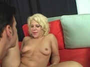 Blonde girl with perky tits gets her shaved pussy ripped