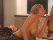 Hot mom catches cum on her tits
