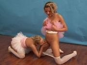 Ballerina girls playing with a dildo