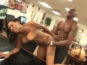 Black couple having sex at home
