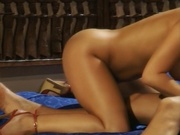 Two hot girls having threesome with a guy
