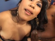 Asian hottie gets face covered with cum