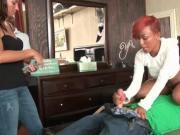 Ebony amateur slut eats huge shaft for cash