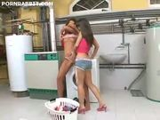 Hot chicks dildo banging in the laundry room