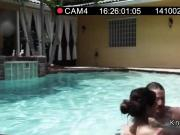 Girlfriend takes facial beside pool