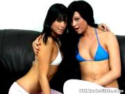 Amazing brunette amateur British teen lesbian babes Sasha and Natalia licking their hot breasts on the camera