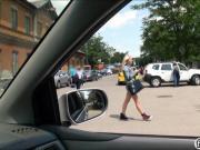 Teen stranded Katy Rose outdoor fucking