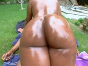 Fat ass ebony girl rides a cock