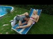 Alluring blonde babe gets fucked by the pool