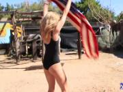 Sexy blonde loves to dance