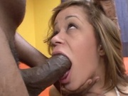 Poor girl throat fucked by black cock