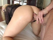 Hot chick stretching her ass with a cock