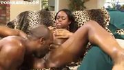 Ebony girl with big oily ass rides a cock
