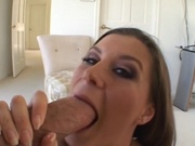 Wife with big breasts rides a cock