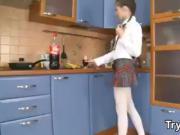 Russian Teen Schoolgirl Does Anal