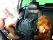 Sexy redhead babe sucks and fucks her taxi driver