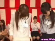 Japanese babes play panties tug of war
