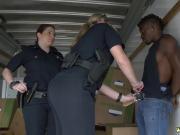 Interracial spitroast and selen cumshots Black suspect taken on a