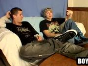Two horny amateur hunks showing off their feet