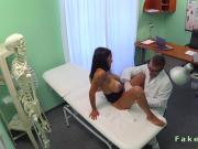 Doctor rubs pussy of huge tits patient