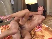 Slim girl takes a big cock ride