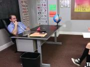 Schoolgirl sucks teacher's cock and fucks on his desk