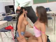 Two pretty schoolgirls fucking their teacher