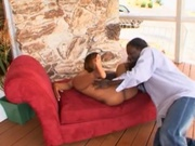 Amateur ebony couple making out