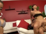 Two sexy brown latinas having sex with fetish guy