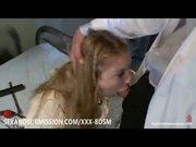 Bondage blonde babe doctor gives treatment