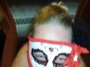 Chubby wife in mask sucks dick