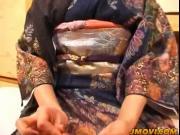 Kanako in kimono sucks hard penis