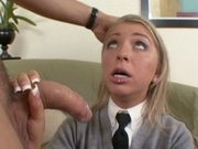 Cutie girl in uniform challenging a big cock