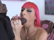 Kinky redhead chick banging black cock