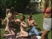 Horny neigborhood having orgy on the ground