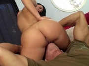 Two adorable hotties having threesome with a guy