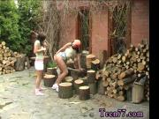 Cutting wood and munching pussy