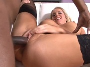 Busty white chick fills her ass with big cock