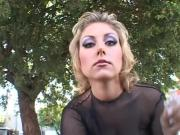 Busty blonde milf goes for two black cocks