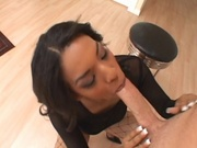 Black chick sucking cock left and right