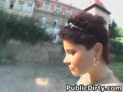 Short Haired European Brunette Sucking Dick And Fucked In Public