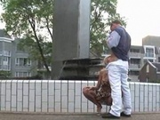Extreme public sex by fountain