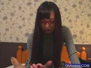 Young pretty asian schoolgirl sucking a warm load of cum