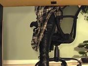 Secretary underdesk masturbation in black boots