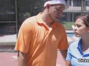 Big tit teen fucked on tennis court