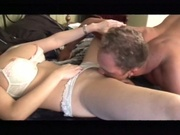 Lovely white chick gets her shaved puss pounded
