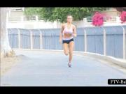 Teenage hot girl jogging topless outdoor