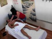 Asian masseuse blowing her customer